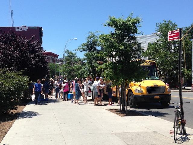 Boarding the Beach Bus on Metropolitan Avenue. Photo: Annaliese Griffin